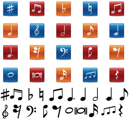 Music Notes and Symbols Icons Vector