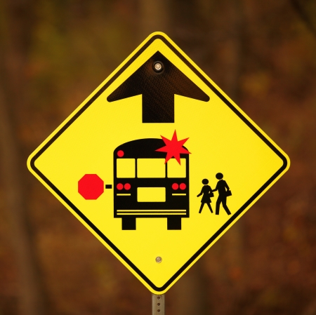 School Bus Stop Ahead Sign photo
