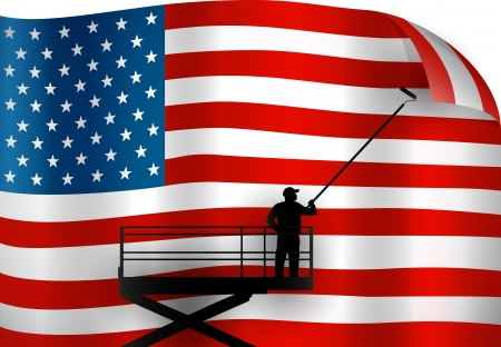 Putting up an American Flag 向量圖像