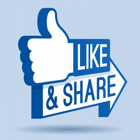 Like and Share Thumbs Up Symbol Vector