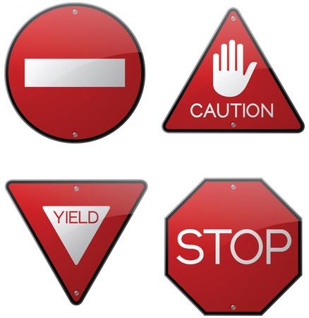 no pase: Cuidado, Parada y Alerta Signs Vectores