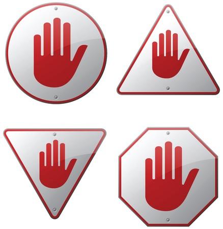 no pase: Señales de advertencia de mano Vectores