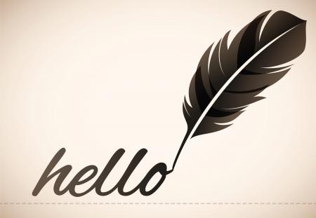 Hello Quill Pen Stock Vector - 24541332