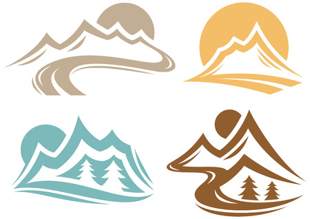 rocky mountains: Mountain Symbol Collection Illustration
