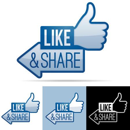 Like en Share Thumbs Up