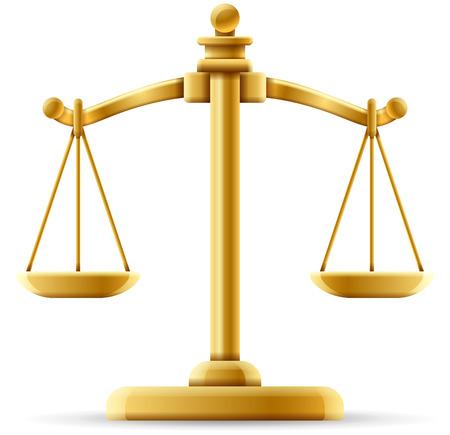 Evenwichtige schaal van rechtvaardigheid die op wit met ruimte voor exemplaar