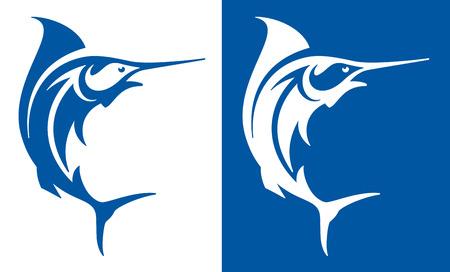 Marlin fish deep sea fishing symbol. Vector