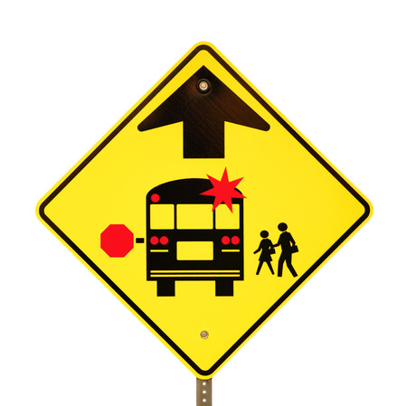 stop signal: Back to school bus stop sign isolated on white. Stock Photo