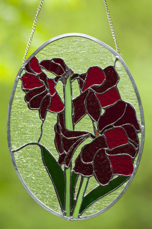 Stained glass flower design.