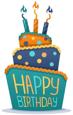 torta compleanno: Torta di buon compleanno con le candele. Vettoriali