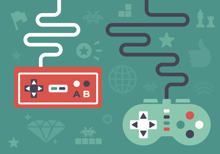 Gaming controllers and game icons and symbol elements. Illustration