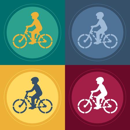 Young biker stencil illustration.