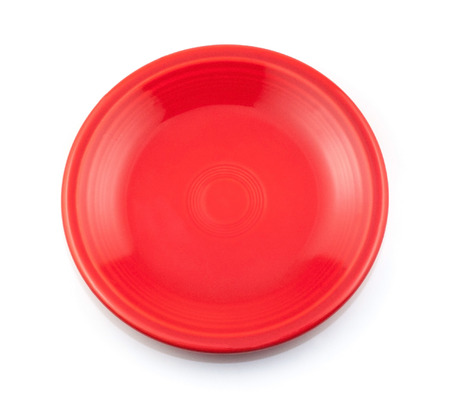 plate: Red plate isolated on white background.