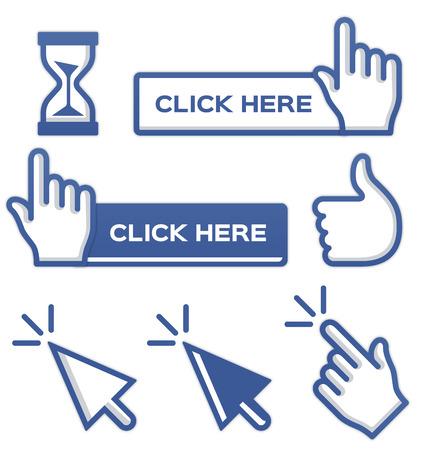 klik: Blauwe cursors en knoppen voor sociale media.