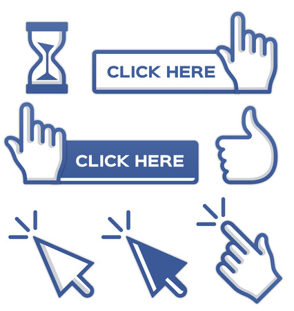 click here: Blue cursors and buttons for social media. Illustration
