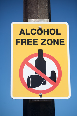 restrictive: Alcohol free zone rectangular sign. Stock Photo