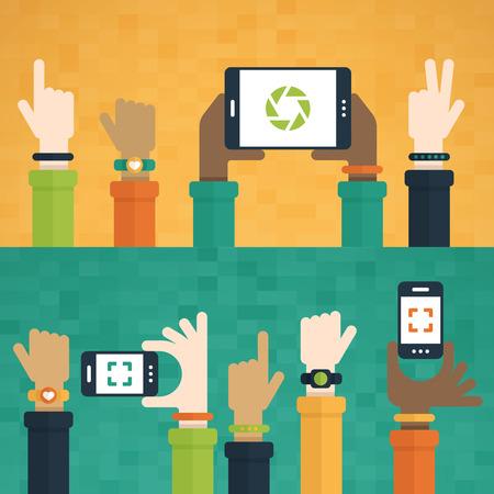 simbolo de la paz: Diseño plano con las manos levantadas celebración de los dispositivos móviles y el uso de productos de tecnología.