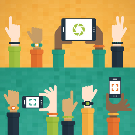hand holding smart phone: Flat design with hands raised holding mobile devices and wearing technology products.