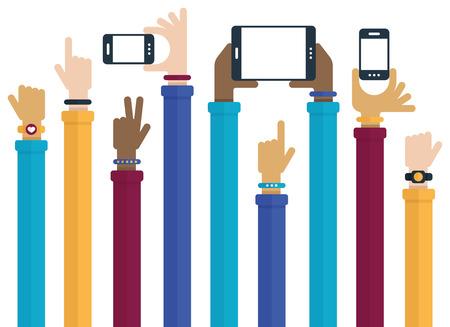 simbolo della pace: Design piatto con le mani alzate in mano i dispositivi mobili e indossando prodotti tecnologici. Vettoriali