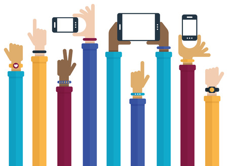 hand holding phone: Flat design with hands raised holding mobile devices and wearing technology products.
