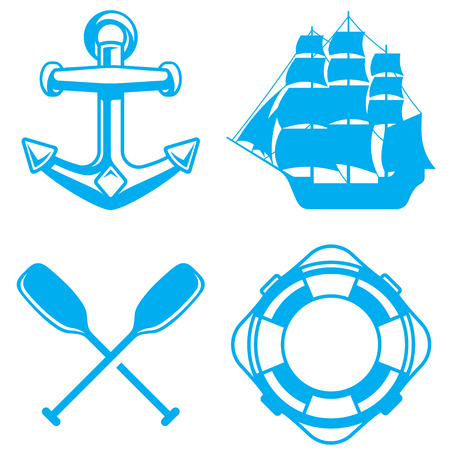 Nautical, marine and ocean elements. Shapes of a boat anchor, a sailing ship, oars or paddles and a life preserver included. Vector