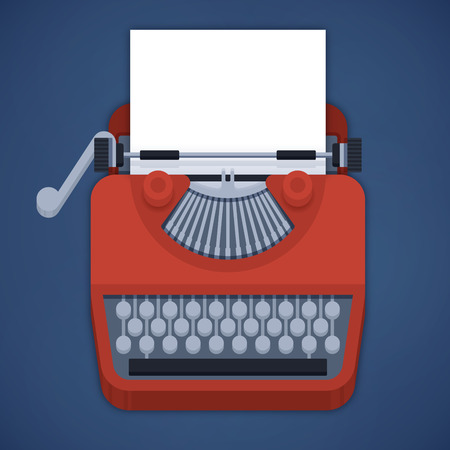 typewriter machine: Flat design typewriter with space for users content and copy.