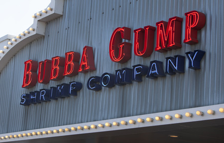 forrest: SANTA MONICA, CAUSA - MAY 26, 2014: Bubba Gump Shrimp Company restaurant. The Bubba Gump Shrimp Company Restaurant and Market is a seafood restaurant chain inspired by the film Forrest Gump.