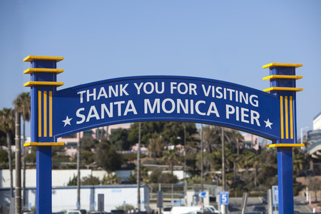 Thank you for visiting the Santa Monica Pier sign. Stock Photo