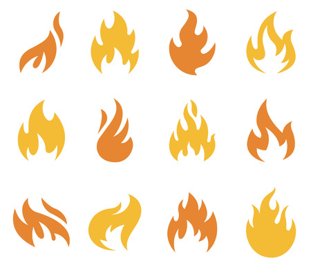 A collection of flames and fire icons and symbols.