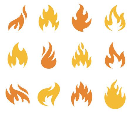 Una collezione di fiamme e fuoco icone e simboli.