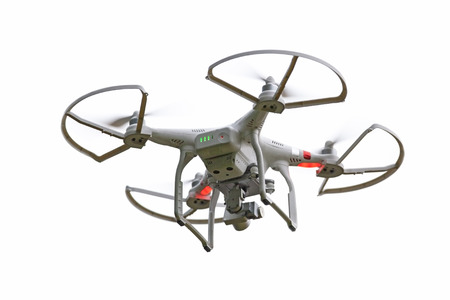 Quadcopter drone isolated on a white background.