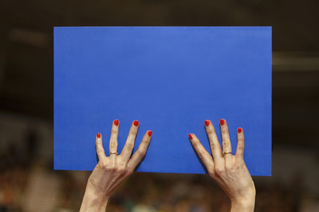 political and social issues: A woman with painted nails holding a blue political sign with space for copy.