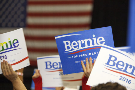 senate race: MADISON, WIUSA - July 1, 2015: A group of people hold up Bernie Sanders for President signs during a rally of over 10,000 people for Bernie Sanders in Madison, Wisconsin.