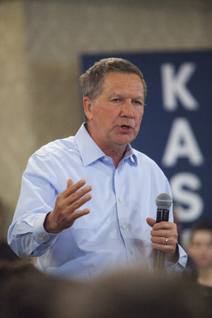 MADISON, WIUSA - March 28, 2016: Republican presidential candidate John Kasich speaks to a group of supporters during a town hall event before the Wisconsin presidential primary in Madison, Wisconsin.