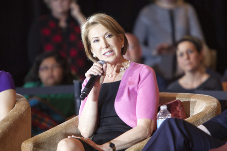 campaigning: MADISON, WIUSA - March 30, 2016: Former Republican presidential candidate Carly Fiorina speaks to a group of supporters during a rally for presidential candidate Ted Cruz in Madison, Wisconsin.