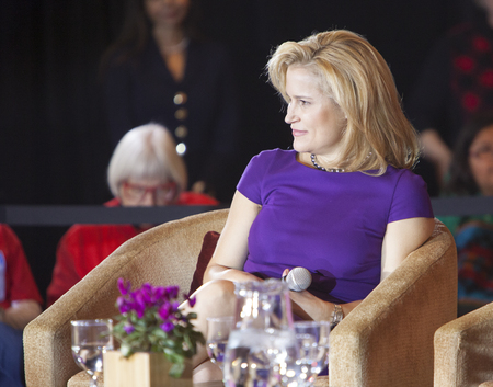 madison: MADISON, WIUSA - March 28, 2016: Heidi Cruz, the wife of Republican presidential hopeful Ted Cruz, listens to a group of supporters during a rally in Madison, Wisconsin. Editorial