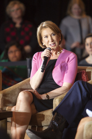 madison: MADISON, WIUSA - March 30, 2016: Former Republican presidential candidate Carly Fiorina speaks to a group of supporters during a rally for presidential candidate Ted Cruz in Madison, Wisconsin.