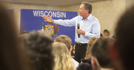campaigning: MADISON, WIUSA - March 28, 2016: Republican presidential candidate John Kasich speaks to a group of supporters during a town hall event before the Wisconsin presidential primary in Madison, Wisconsin.
