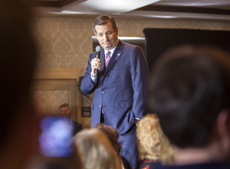 ted: MADISON, WIUSA - March 30, 2016: Republican presidential candidate Ted Cruz speaks to a group of supporters during a rally before the Wisconsin presidential primary in Madison, Wisconsin. Editorial