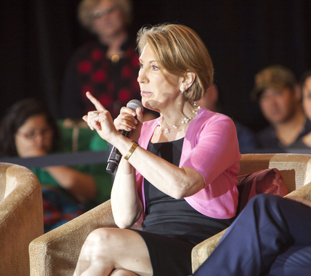 campaigning: MADISON, WIUSA - March 28, 2016: Former Republican presidential candidate Carly Fiorina speaks during a free public forum on womens issues in Madison, Wisconsin.