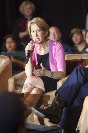 MADISON, WI/USA - March 28, 2016: Former Republican presidential candidate Carly Fiorina speaks during a free public forum on women's issues in Madison, Wisconsin.