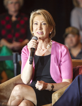 campaigning: Madison, Wisconsin, USA - March 30, 2016: Former Republican presidential candidate Carly Fiorina speaks during a free public forum on womens issues in Madison, Wisconsin. Editorial