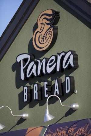 MADISON, WI/USA - September 22, 2013: Panera Bread restaurant exterior. Panera Bread is a chain of bakery-cafe fast casual restaurants in the United States and Canada.