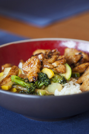 broccolli: Stir fry vegetables with chicken meal. Stock Photo