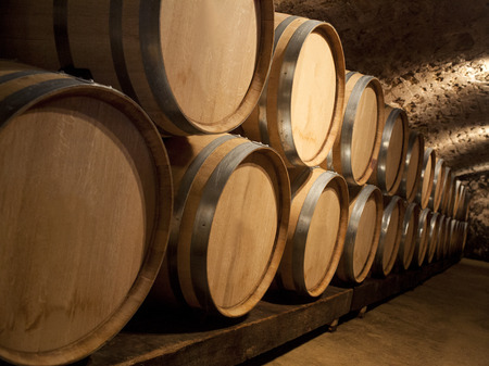Aging wine in oak barrels at a winery in a wine cellar.