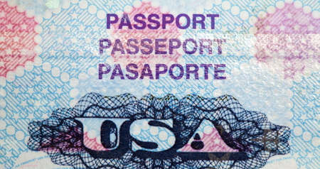 page up: United States passport page up close. Stock Photo