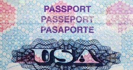 overseas visa: United States passport page up close. Stock Photo