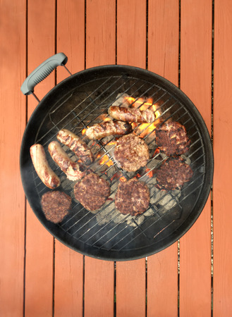 charcoal grill: Grilling food on a charcoal grill.