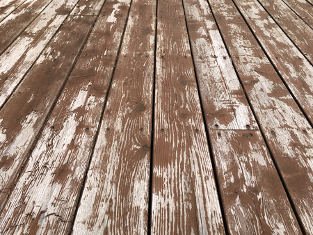 worn: Worn and peeling deck stain wooden boards.