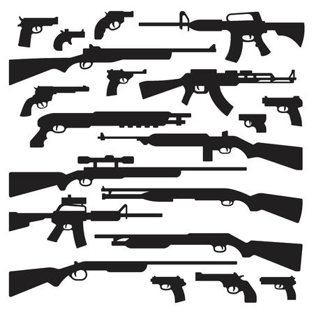 Pistolety, karabiny, strzelby, pistolety, karabiny szturmowe, pistolety i inne ogólne zarysy.